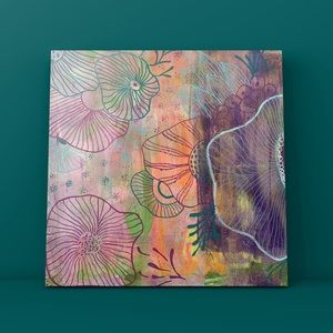 "Original Modern floral abstract canvas art 12""x12"""